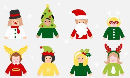 People in christmas costume set - colorful 写真素材 - 132850836
