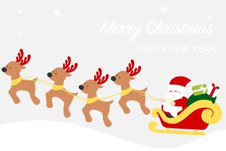 Santa Claus sleigh with reindeers - Christmas card 写真素材 - 132948773