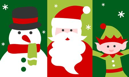 Santa Claus, snow man and elf - Christmas card 写真素材 - 132971176