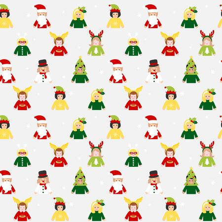 People in Christmas costume - seamless pattern