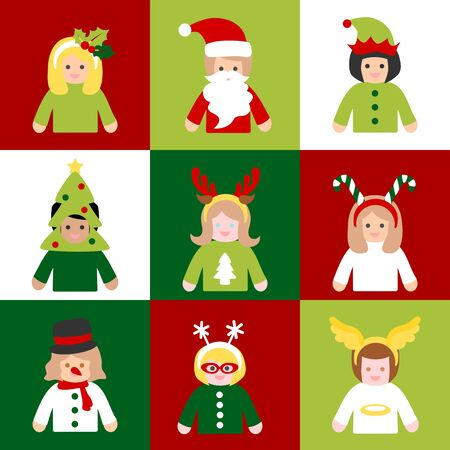 People in Christmas costume in square frame 写真素材 - 133034100