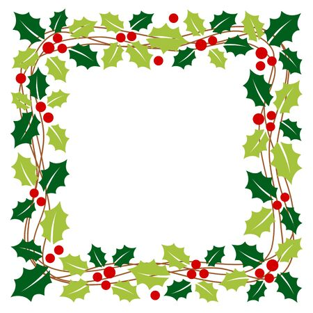Christmas garland with holly leaves in square frame