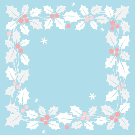 Christmas garland with holly leaves in square frame 写真素材 - 134716386