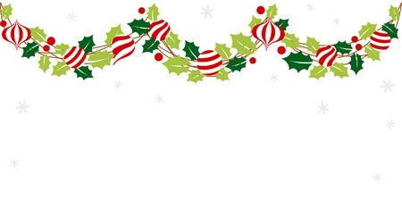 Christmas garland with holly leaves and ornament  イラスト・ベクター素材