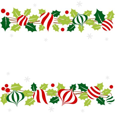 Christmas garland with holly leaves and ornament 写真素材 - 134716390