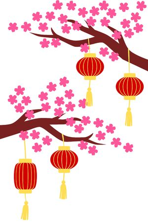 Chinese new year background with peach blossom and lanterns