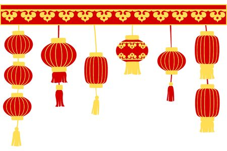 Chinese new year card with and lanterns
