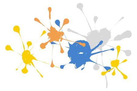 Colorful splash background with yellow , orange and blue  Ilustracja