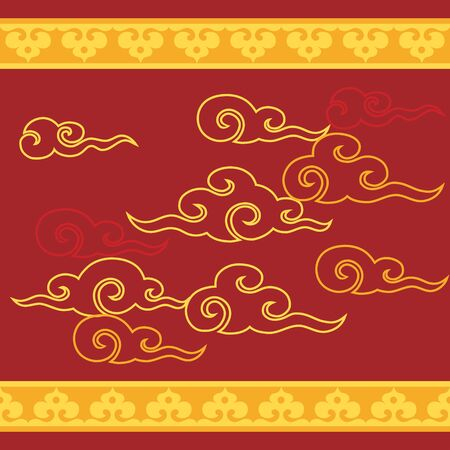 Chinese new year background with gold cloud