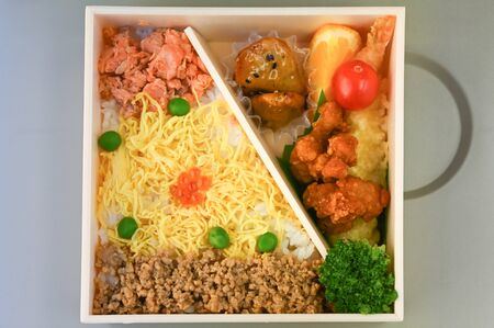 Lunch box, Japanese style, take away food that you can easily find at train station 版權商用圖片 - 137859483