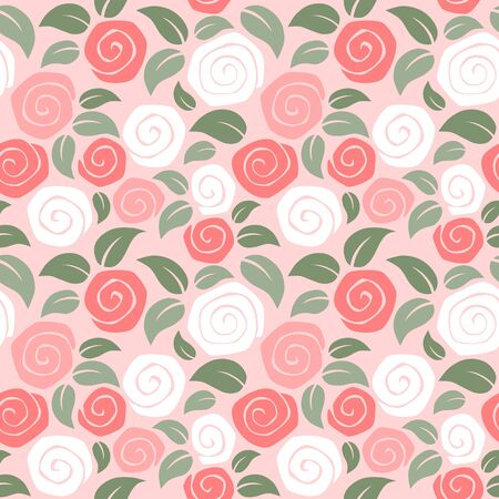 Rose seamless pattern on pink background