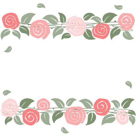 Rose border on white background Ilustracja