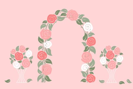 Rose arch on pink background