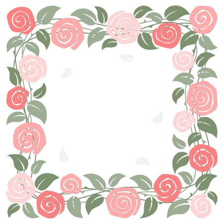 Rose square frame on white background