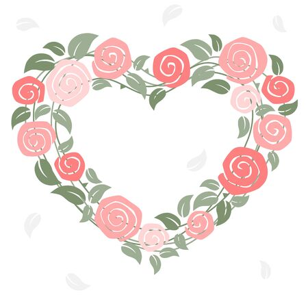 Roses with heart shape on pink background - card