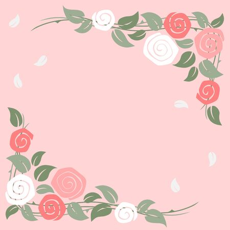 Roses frame at the corner on pink background