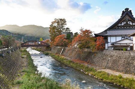 The bridge over Araki river in Hida Furakawa, Japan
