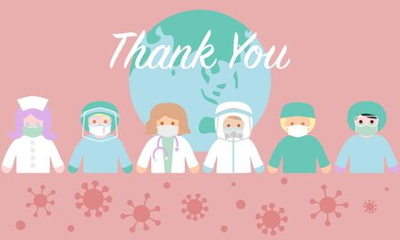 Thank you all medical staff for fighting coronavirus for humanity Illustration