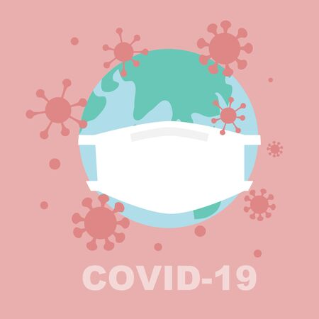 Covid-19 pandemic around the world concept - World wearing mask Illustration