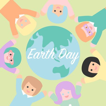 Earth day with people holding hand