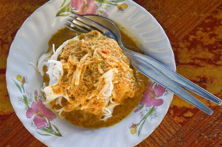 Fish curry with rice noodle (Khanom chin nam ya) - Thailand southern style