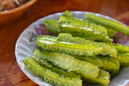 Winged bean, local vegetable, having with curry rice noodle - Thailand southern style