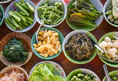 Variety of local vegetables, having with curry rice noodle - Thailand southern style