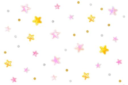 Pink gold glitter star and star paper cut on white background - isolated