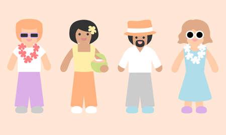 People avatars - summer holiday set 向量圖像