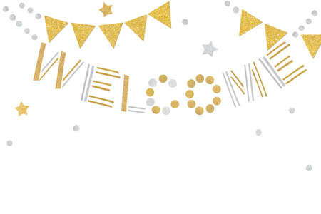 Gold and silver welcome bunting paper cut on white background - isolated 版權商用圖片
