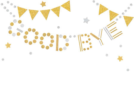 Gold and silver good bye bunting paper cut on white background - isolated