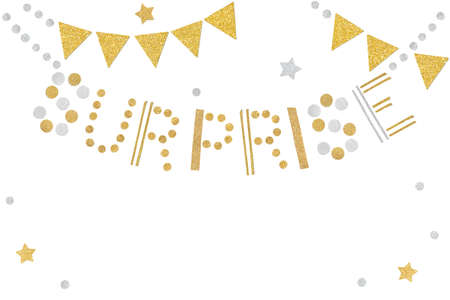 Gold and silver surprise bunting paper cut on white background