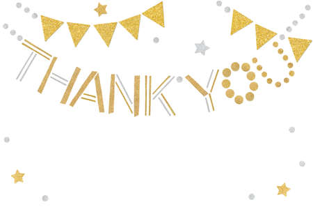 Gold and silver thank you bunting paper cut on white background