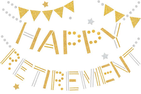 Happy retirement bunting paper cut on white background - isolated