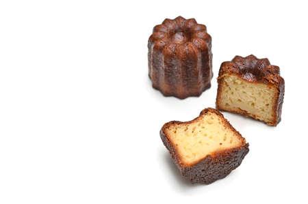 Canele, French pastry, on white background - isolated