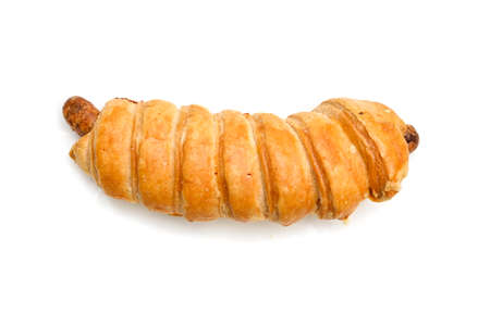 Sausage roll on white background - isolated