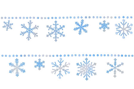 Snowflake bunting paper cut on white background - isolated