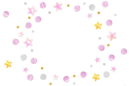 Pink gold glitter star paper cut on white background - isolated Zdjęcie Seryjne