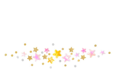 Pink gold glitter star banner on white background - isolated Zdjęcie Seryjne