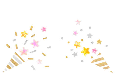 Pink gold glitter star party popper on white background - isolated Zdjęcie Seryjne