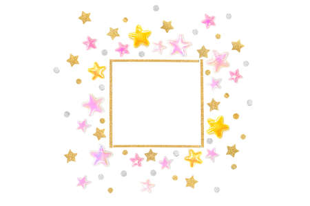 Pink gold glitter star square frame on white background - isolated Zdjęcie Seryjne
