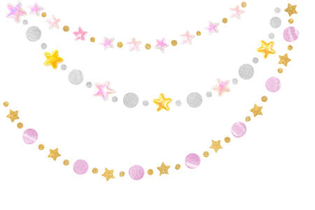 Pink gold glitter star bunting on white background - isolated