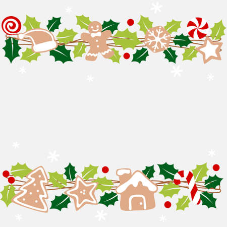 Christmas garland with holly and gingerbread  - colorful