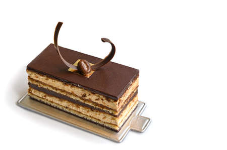 Opera cake on white background - isolated Zdjęcie Seryjne