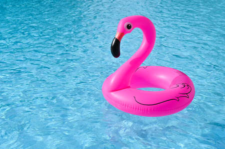 Flamingo shape, floating rubber ring in the swimming pool