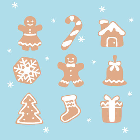 Gingerbread cookies on winter background - Christmas card Ilustracja