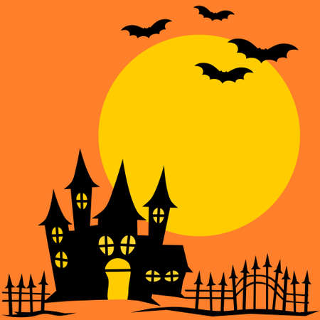 Halloween background with castle and bat