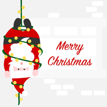 Christmas card with Santa and cable cord - colorful
