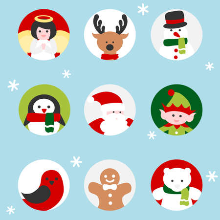 Christmas characters icon in circle frame
