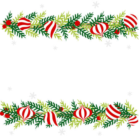 Christmas border with red and white ornament - colorful